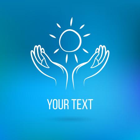 manos abiertas: Vector con un par de manos que sostienen el sol, las palmas abiertas con el texto. Plantilla de diseño y el concepto del amor, la familia, la amistad, el amor y la comunidad local, la ayuda, la conciencia, la sociedad, la atención y compartir Vectores