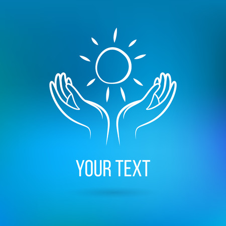 community help: Vector with couple of hands holding sun, open palms with text. Design template and concept of love, family, friendship, charity, local community, help, awareness, society, care and sharing