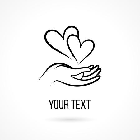 , 손으로 두 마음을 열고 손바닥과 텍스트를 벡터. 디자인 템플릿과 사랑, 가족, 우정, 자선 단체, 지역 사회, 도움, 인식, 사회, 관리 및 공유의 개념
