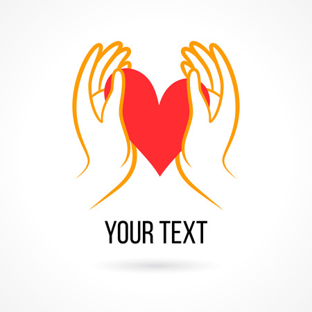 hand heart: Vector  with hand, heart, open palm and elements. Design template and concept of love, family, friendship, charity, local community, help, awareness, society, care and sharing Illustration