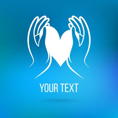 manos abiertas: Vector con la mano, el corazón, con la palma abierta y elementos. Plantilla de diseño y el concepto del amor, la familia, la amistad, el amor y la comunidad local, la ayuda, la conciencia, la sociedad, la atención y compartir