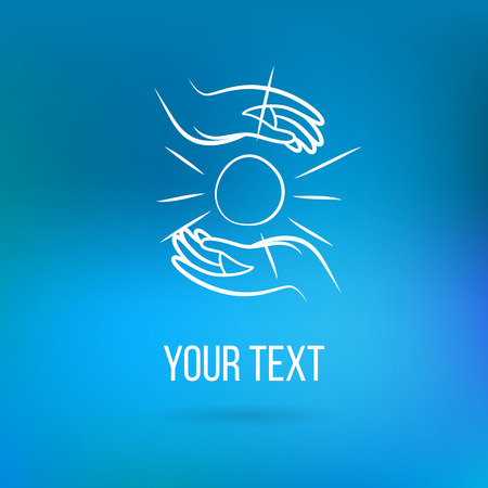 Vector with couple of hands, holding sun, open palms with text. Design template and concept of love, family, friendship, charity, local community, help, support, society, care and sharing