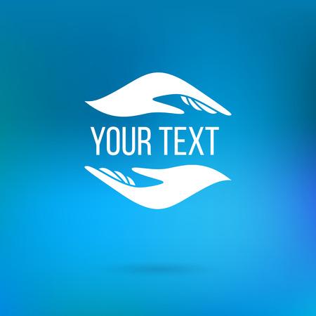 manos logo: Vector logo con dos manos que sostienen texto. Concepto de la atención, la familia, la seguridad, el seguro, la ayuda, la participación, la empatía, el perdón, dar, donación, caridad