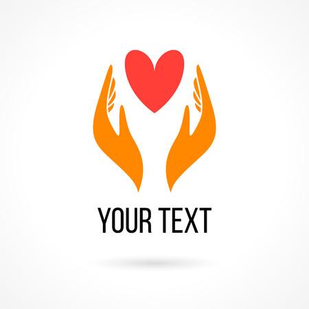 Vector logo met twee handen die het hart. Concept van liefde, zorg, familie, veiligheid, verzekering, hulp, aandeel, empathie, vergeving, het geven, schenking, liefdadigheid
