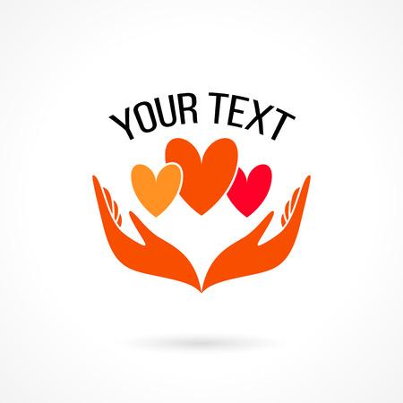 Vector logo con las dos manos sosteniendo corazones. El concepto de amor, cuidado, familia, seguridad, seguro, ayuda, compartir, empatía, perdón, dar, donación, caridad Foto de archivo - 41575705