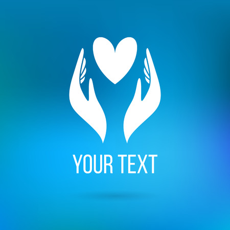 Vector logo with two hands holding heart. Concept of love, care, family, safety, insurance, help, share, empathy, forgiveness, giving, donation, charity