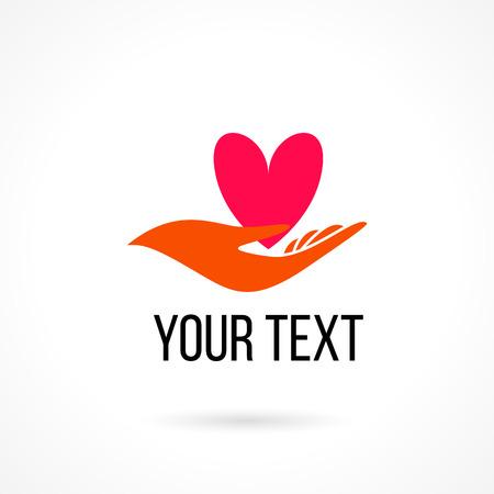 manos logo: Vector logo con la mano sosteniendo corazón. El concepto de amor, cuidado, familia, seguridad, seguro, ayuda, compartir, empatía, perdón, dar, donación, caridad
