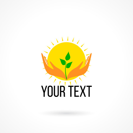 hands holding tree: Vector logo with two hands holding growing plant and sun. Concept of love, care, safety, insurance, development, education, childhood, happiness.
