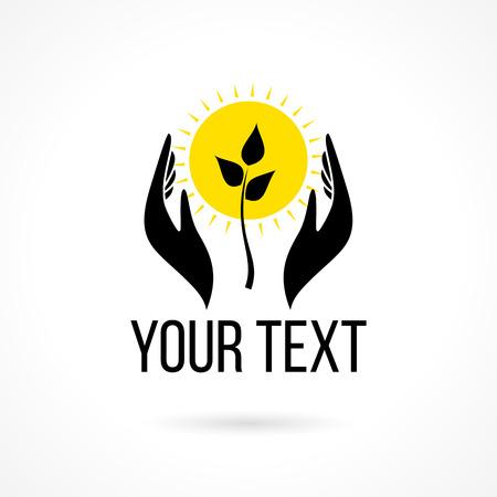 Vector logo met twee handen die groeiende plant en zon. Concept van de liefde, zorg, veiligheid, verzekering, ontwikkeling, onderwijs, jeugd, geluk.