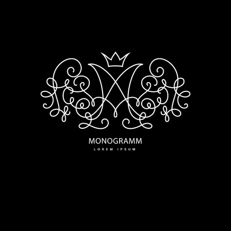 Simple and elegant logo design template. Vector monogram with floral border drawn in single simple lines. Linear decor around one letter m.