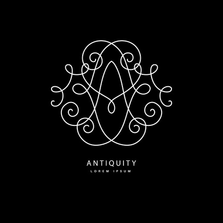 vines: Simple and elegant logo design template. Vector monogram with floral border drawn in single simple lines. Linear decor around one letter a.