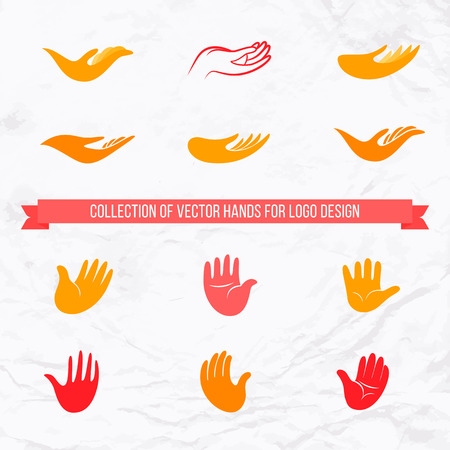 Vector logo collection of open palms and hands with front and side view design. Concept of love, family, care, local and global community, help, insurance, friendship, support, charity, donation Vectores