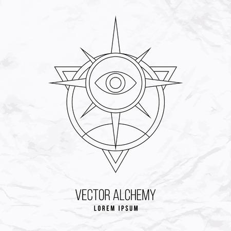 Vector geometrische alchemie symbool met oog, zon, ster, vormen en abstracte occulte en mystieke tekens. Lineaire logo en spirituele design. Concept van de verbeelding, magie, creativiteit, religie, astrologie Stock Illustratie
