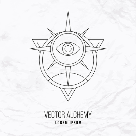 Vector geometric alchemy symbol with eye, sun, star, shapes and abstract occult and mystic signs. Linear logo and spiritual design. Concept of imagination, magic, creativity, religion, astrology Vettoriali