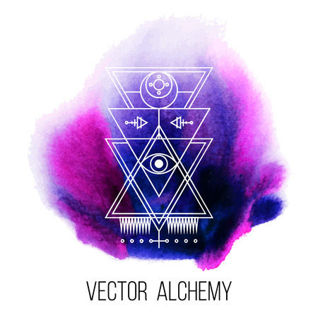occult: Vector geometric alchemy symbol with eye,  moon, shapes and abstract occult and mystic signs on water color background. Linear logo and spiritual design. Concept of imagination, magic, religion