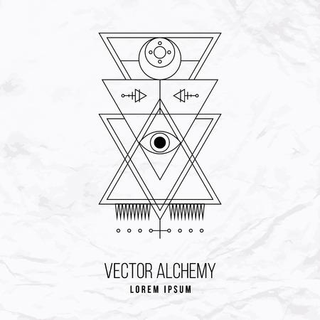 Vector geométrica símbolo alquimia con el ojo, luna, formas y oculta abstracto y signos místicos. Logo lineal y diseño espiritual. Concepto de la imaginación, la magia, la creatividad, la religión, la astrología, albañilería Logos