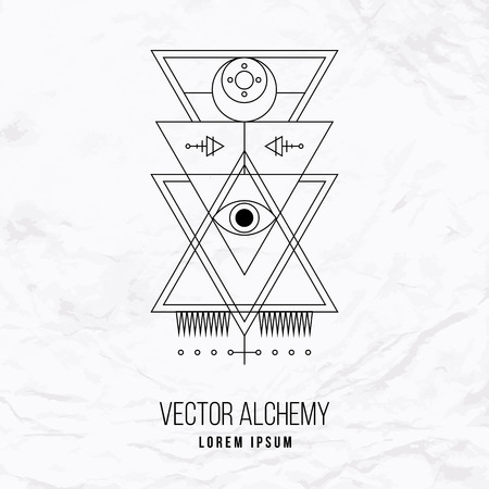 Vector geometric alchemy symbol with eye, moon, shapes and abstract occult and mystic signs. Linear logo and spiritual design. Concept of imagination, magic, creativity, religion, astrology, masonry Vettoriali