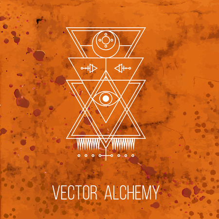 alchemy: Vector geometric alchemy symbol with eye, sun, moon, shapes and abstract occult and mystic signs. Linear logo and spiritual design. Concept of imagination, magic, creativity, religion, masonry Illustration