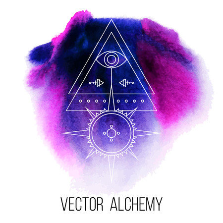 occult: Vector geometric alchemy symbol with eye, sun, moon, shapes and abstract occult and mystic signs on watercolor background. Linear logo and spiritual design. Concept of magic, creativity, religion