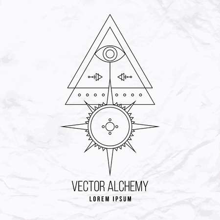 Vector geometric alchemy symbol with eye, sun, star, shapes and abstract occult and mystic signs. Linear logo and spiritual design. Concept of imagination, magic, creativity, religion, astrology Illustration