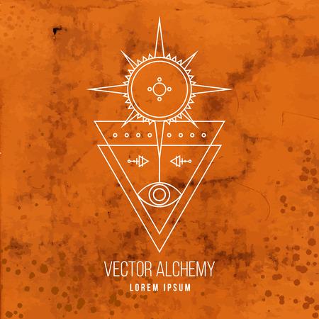 forme: Vecteur géométrique symbole de l'alchimie avec les yeux, le soleil, étoiles, formes triangulaires et occulte abstraite et signes mystiques sur l'ancienne fond de parchemin. Logo design linéaire et spirituelle.