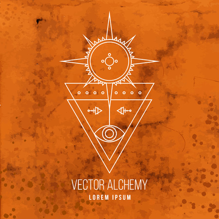 geometric shapes: Vector geometric alchemy symbol with eye, sun, star, triangle shapes and abstract occult and mystic signs on ancient parchment background. Linear logo and spiritual design. Illustration