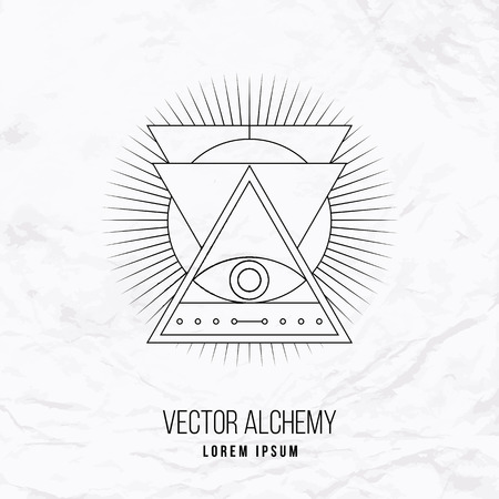 occult: Vector geometric alchemy symbol with eye, sun, shapes and abstract occult and mystic signs. Linear logo and spiritual design. Concept of imagination, magic, creativity, religion, astrology, masonry