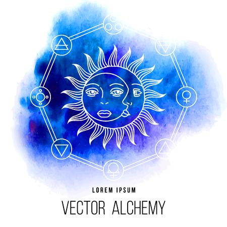 zon en maan: Vector geometrische alchemie symbool met oog, zon, maan, vormen en abstracte occulte en mystieke tekens. Lineaire logo en spirituele design. Concept van de verbeelding, magie, creativiteit, religie, astrologie