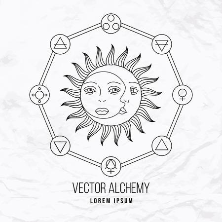 sol y luna: Vector geom�trica s�mbolo alquimia con los ojos, el sol, la luna, las formas y oculta abstracta y signos m�sticos. Logo lineal y dise�o espiritual. Concepto de la imaginaci�n, la magia, la creatividad, la religi�n, la astrolog�a Vectores