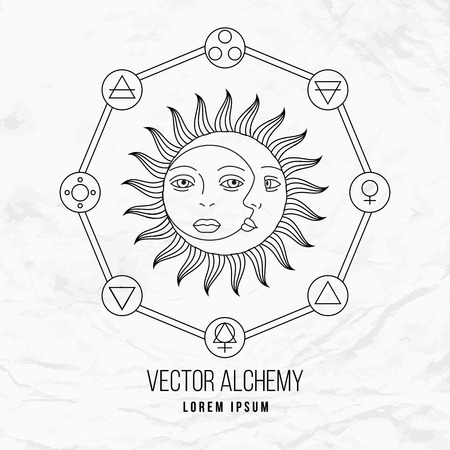 Vector geometric alchemy symbol with eye, sun, moon, shapes and abstract occult and mystic signs. Linear logo and spiritual design. Concept of imagination, magic, creativity, religion, astrology Stock fotó - 41576113