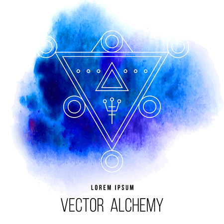 occult: Vector geometric alchemy symbol with triangle shapes and abstract occult and mystic signs. Linear logo and spiritual design. Concept of imagination, magic, creativity, religion, astrology, masonry