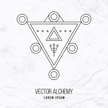 occult: Vector geometric alchemy symbol with triangle shapes and abstract occult and mystic signs. Linear logo and spiritual design. Concept of imagination, magic, creativity, religion, astrology Illustration