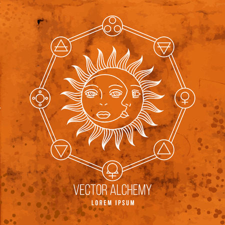 Vector geometric alchemy symbol with sun, moon, shapes and abstract occult and mystic signs. Linear logo and spiritual design. Concept of imagination, magic, creativity, astrology, man, woman, family