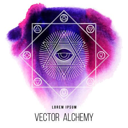Vector geometrische alchemie symbool met oog, zon, David ster, vormen en abstracte occulte en mystieke tekens. Lineaire logo en spirituele ontwerp. Concept van magie, creativiteit, religie, astrologie, metselwerk