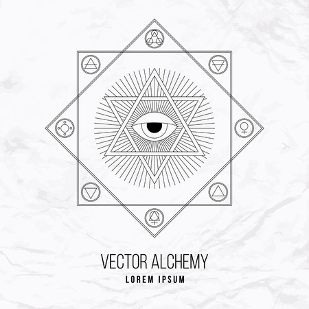 Vector geometric alchemy symbol with eye, sun, shapes and abstract occult and mystic signs. Linear logo and spiritual design Concept of masonry, magic, creativity, religion, astrology, horoscope Ilustração