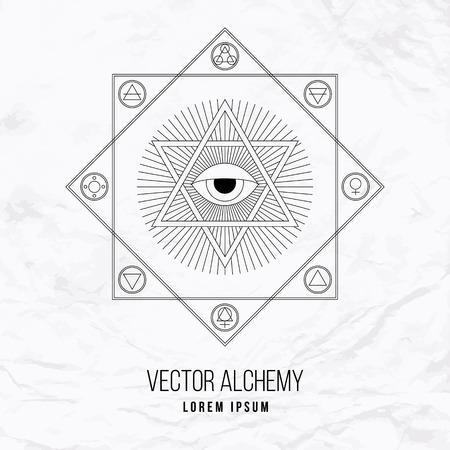 Vector geometrische alchemie symbool met oog, zon, vormen en abstracte occulte en mystieke tekens. Lineaire logo en spirituele concept van metselwerk, magie, creativiteit, religie, astrologie, horoscoop