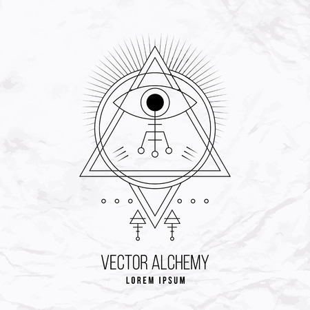 Vector geometric alchemy symbol with eye, sun, shapes and abstract occult and mystic signs. Linear logo and spiritual design. Concept of imagination, magic, creativity, religion, astrology, masonry