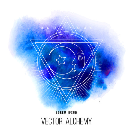 Vector geometric alchemy symbol with eye, sun, moon, shapes and abstract occult and mystic signs. Linear logo and spiritual design. Concept of imagination, magic, creativity, astrology, femininity Ilustração