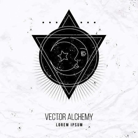 Vector geometrische alchemie symbool met oog, maan, vormen. Abstracte occulte en mystieke tekens. Lineaire logo en spirituele ontwerp. Concept van de verbeelding, magie, creativiteit, religie, astrologie