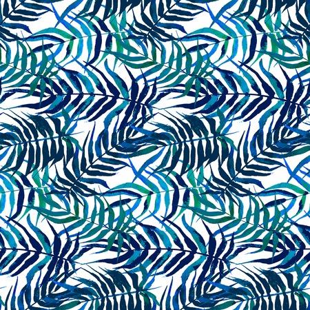 helechos: Vector acuarela patrón floral con diversas hojas de palma inspira en la naturaleza tropical Vectores