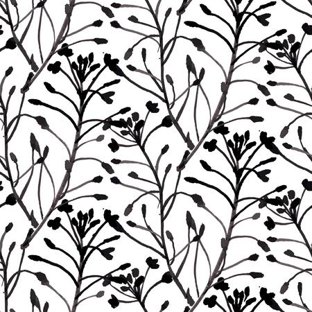 petites fleurs: Vecteur aquarelle motif floral avec diverses fleurs et les feuilles.