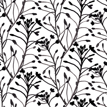 vintage patterns: Vector watercolor floral pattern with various flowers and leaves. Illustration