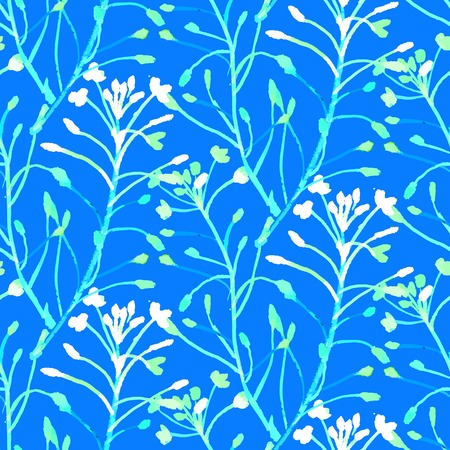 seamless pattern: Vector watercolor floral pattern with various flowers and leaves.