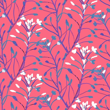 creeper: Vector watercolor floral pattern with various flowers and leaves.