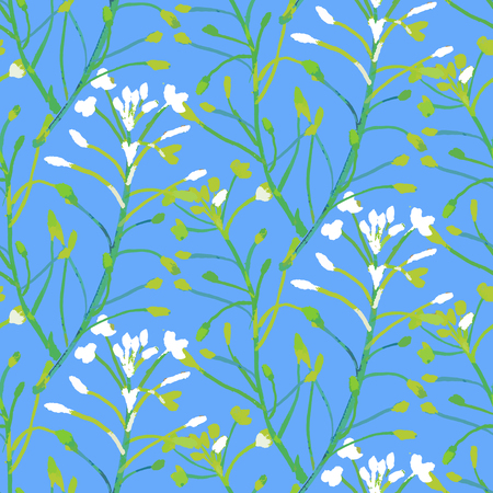 Vector watercolor floral pattern with various flowers and leaves.