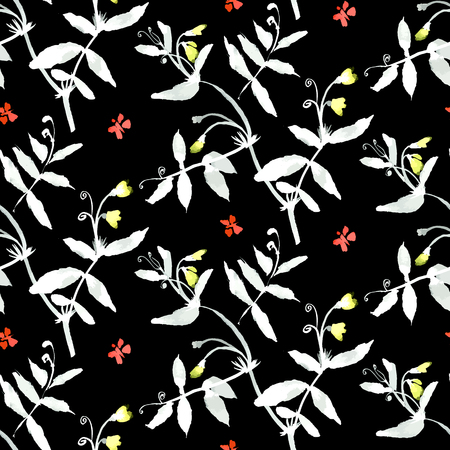 Vector watercolor pattern with various flowers and leaves.