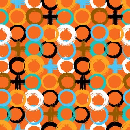 retro grunge: Vector pattern with big bold painted circles and crosses. Colorful hand drawn print for summer fall fashion with random round shapes in 1950s style. Multiple bright colors orange, brown, black, white
