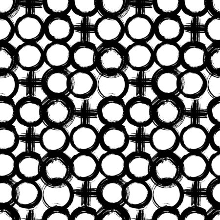 fall fashion: Vector pattern with big bold painted circles and crosses. Graphic hand drawn print for winter fall fashion with random round shapes in 1950s style in black and white