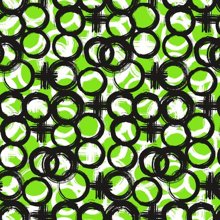 green and black: Vector pattern with big bold painted circles and crosses. Colorful hand drawn print for summer fall fashion with random round shapes in 1950s style. Multiple bright colors green, black, white