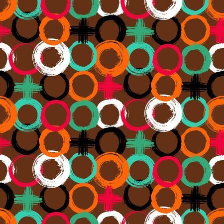fall fashion: Vector pattern with big bold painted circles and crosses. Colorful hand drawn print for summer fall fashion with random round shapes in 1950s style Multiple bright colors orange, red, black, turquoise